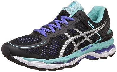 e61c0d5550b ASICS Women's Gel-Kayano 22 Black, Onyx and Pool Blue Running Shoes ...