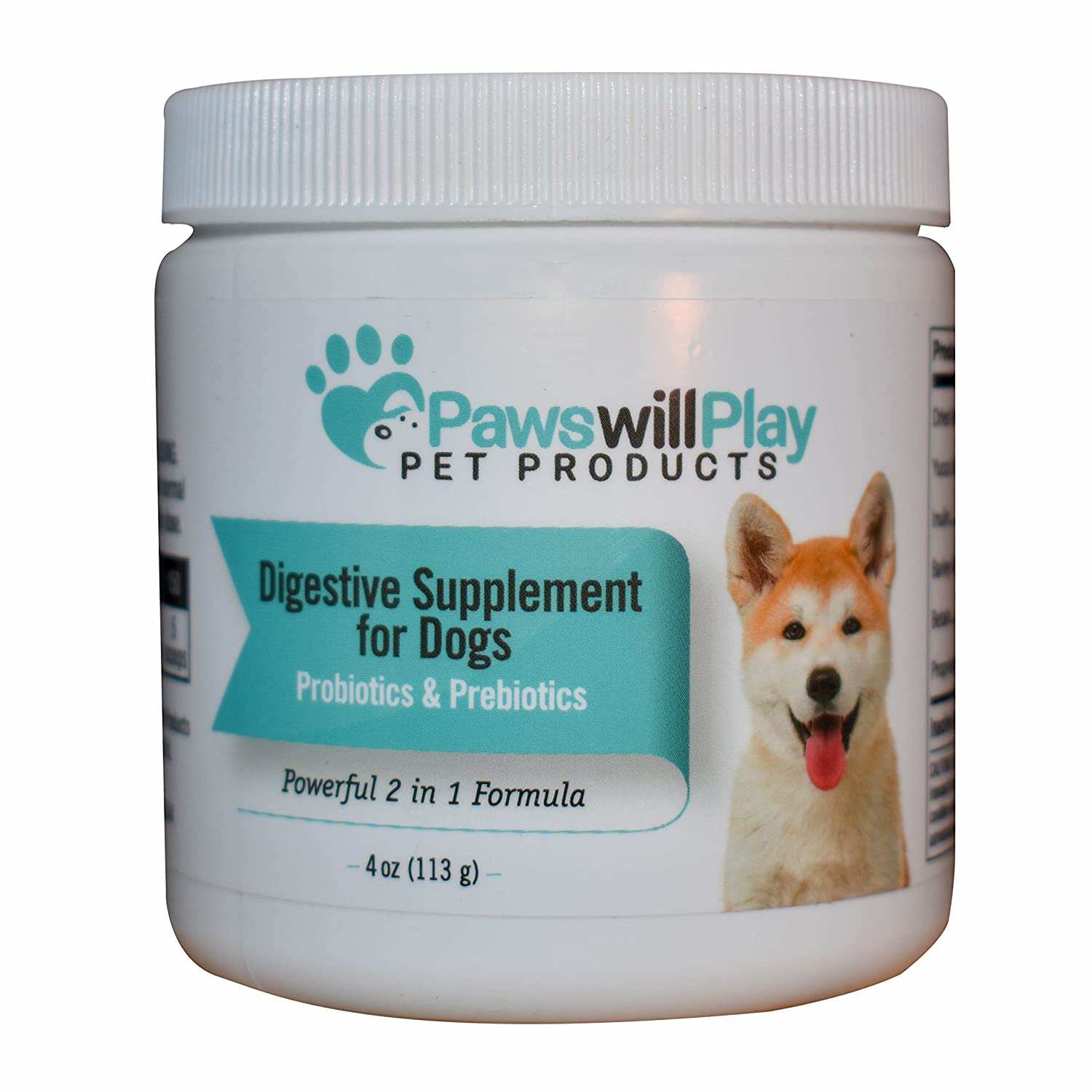 100% Naturally Derived Probiotic for Dogs with Added Prebiotic - 2 in 1 Dog Digestive Supplement Powder to Help Pet's Digestion and Itchy Skin - Made in the USA