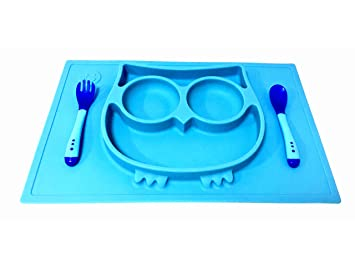 EPHome Kids Silicone Placemat and Tray in One Piece, Spoon and Fork Included (Blue
