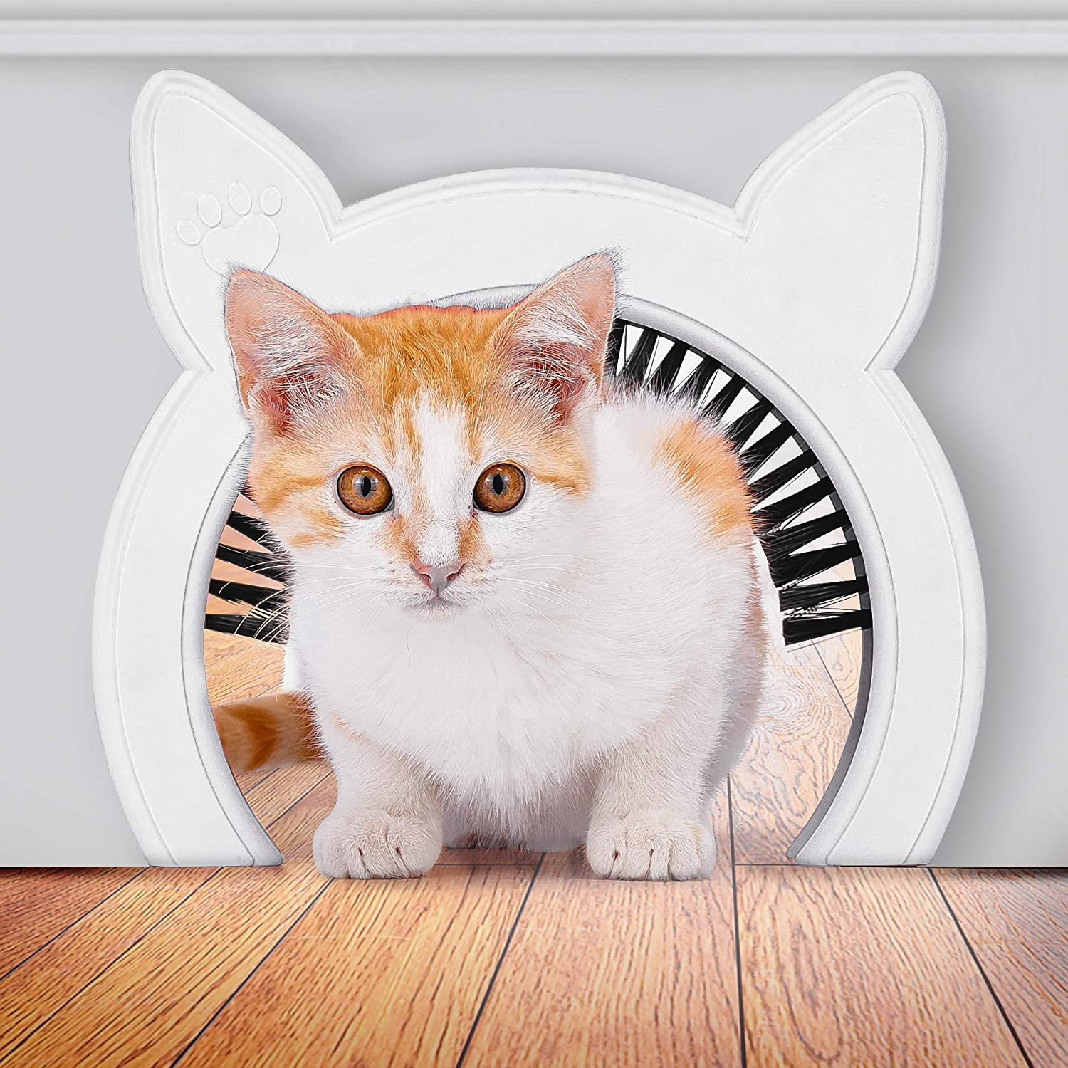 Interior Cat Door (Pink or White) with Clip-on Removable Grooming Brush | Scratches Back Collects Cat Hair | Hides Litter Box from Kids and Dog |