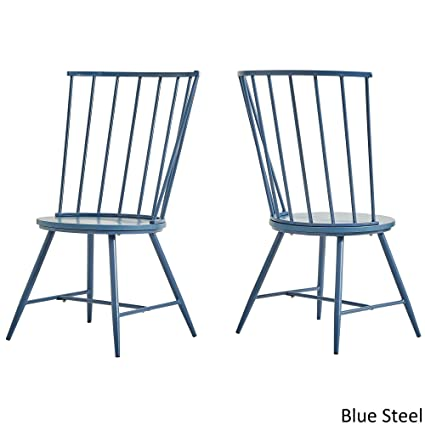 Mid Century Modern Truman High Back Windsor Classic Dining Chair Set Of 2  (Blue