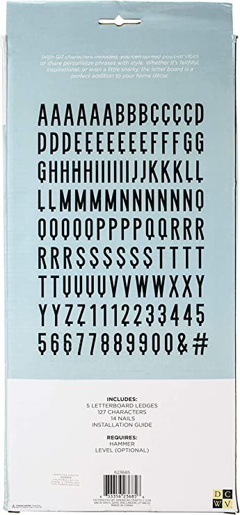 """American Crafts DCWV 12/"""" x 12/"""" Backless Letter Board Grey Oak 127 Characters"""