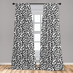"""Ambesonne Modern Curtains, Music Notes in Sketch Style Doodle Murky Distressed Hand Drawn Lines Image, Window Treatments 2 Panel Set for Living Room Bedroom Decor, 56"""" x 84"""", Black and White"""