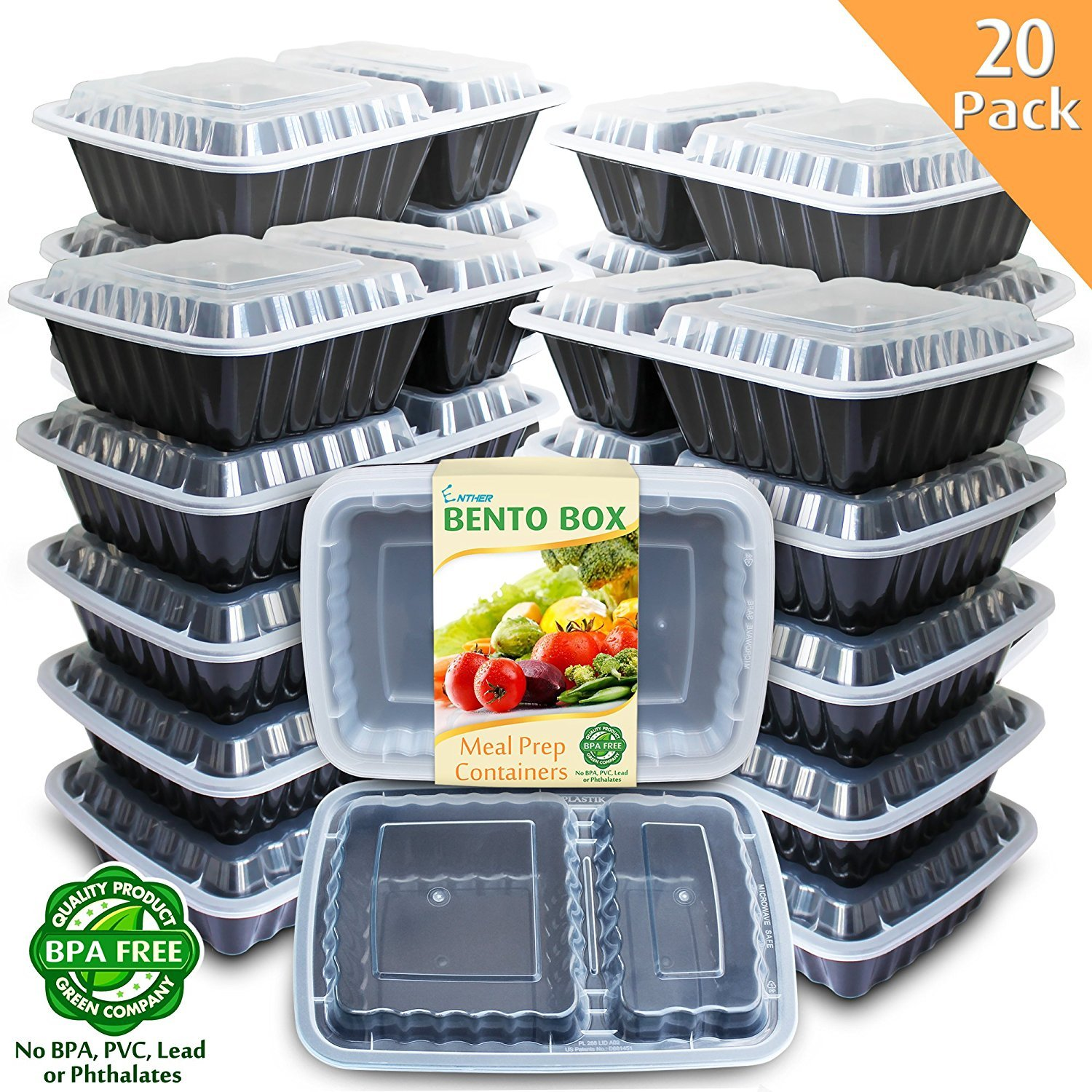 Enther Meal Prep Containers [20 Pack] 2 Compartment with Lids, Food Storage Bento Box | BPA Free | Stackable | Reusable Lunch Boxes, Microwave/Dishwasher/Freezer Safe,Portion Control (32 oz) 2CPTX20