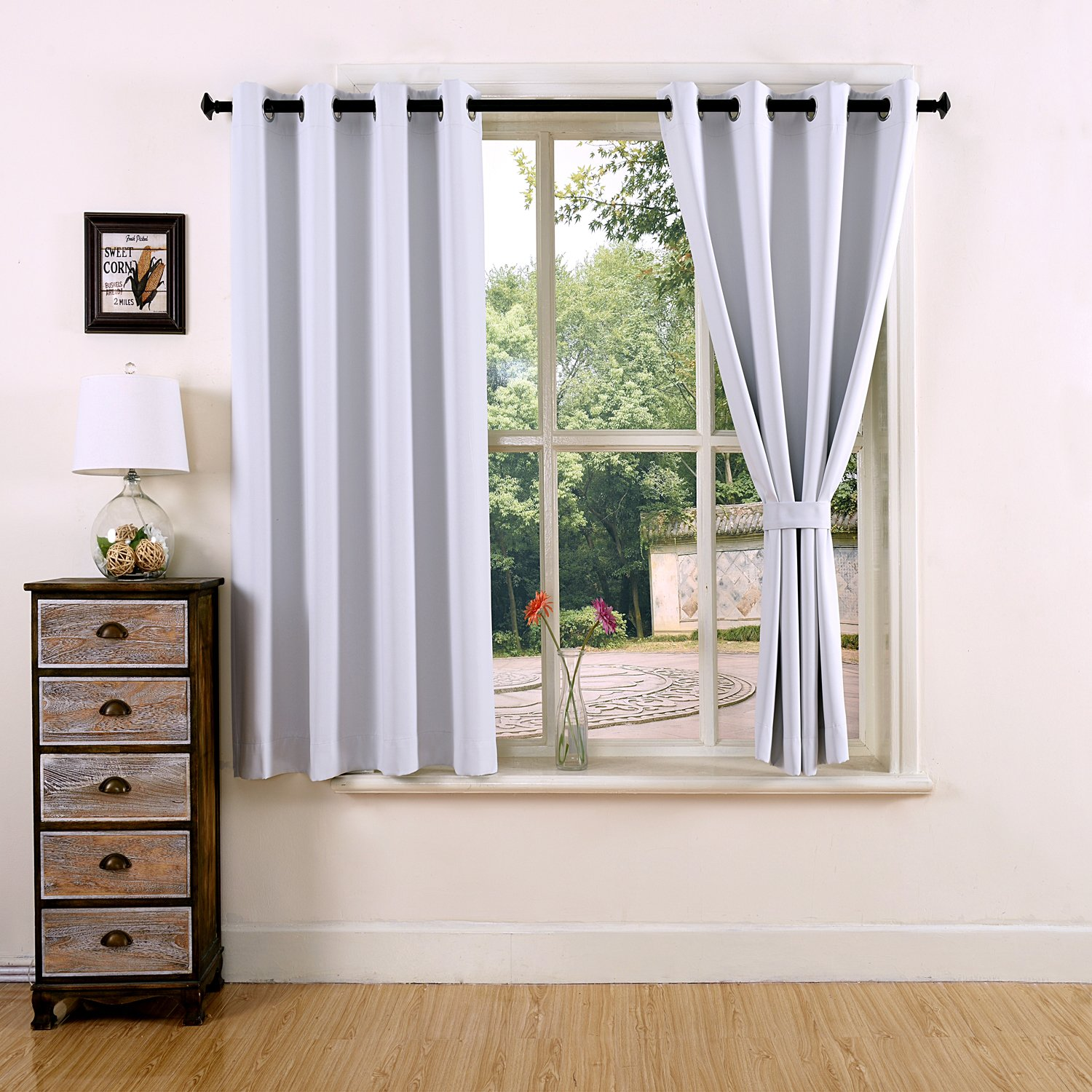 Thermal Insulated Grommet Top Window Short Blackout Curtains Bedroom Sets New Ebay