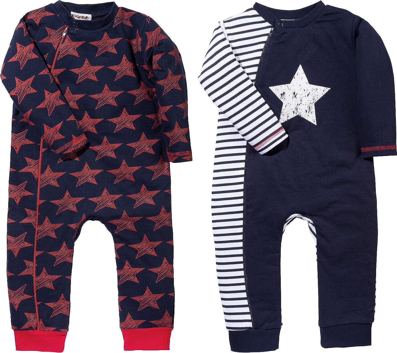 Erwin M/üller Baby-Schlafanzug 2er-Pack Interlock-Jersey marine//rot Gr/ö/ße 50 56