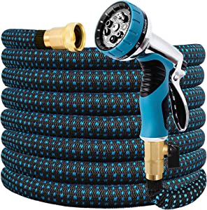 Expandable Garden Hose 25FT Water Hose with 9 Function Nozzle and Durable 3-Layers Latex, Extra Strength 3750D Flexible Hose with 3/4
