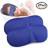 SLMASK Sleep Mask, Super Soft Breathable Sleeping Mask, 3D Contoured Travel Eye Mask, Night Eye Cover with Elastic Adjustable Strap, Light Blocking Blindfold for Women Men Kids, Blue, 2 Pack