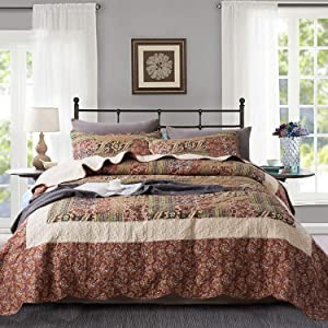 Travan King Quilt Set 3-Piece Bedspread Quilted Oversized Lightweight Coverlet Set with Shams Paisley Floral Pattern Quilted Bedding Set for All Season
