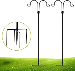 XDW-GIFTS Double Hanger Shepherds Hook 48 Inch - Thick Rust Resistant Metal Hook with 5 Prong Base for Hanging Bird Feeders, Mason Jars, Christmas Lights, Wedding Décor