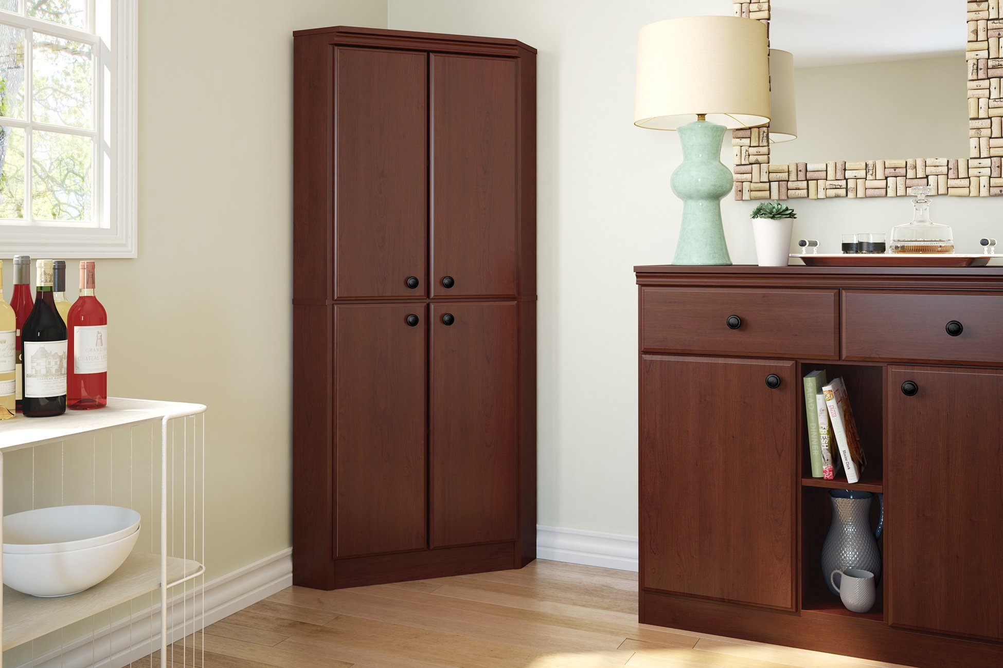 South Shore 4-Door Corner Armoire for Small Space with Adjustable Shelves, Royal Cherry by South Shore (Image #3)