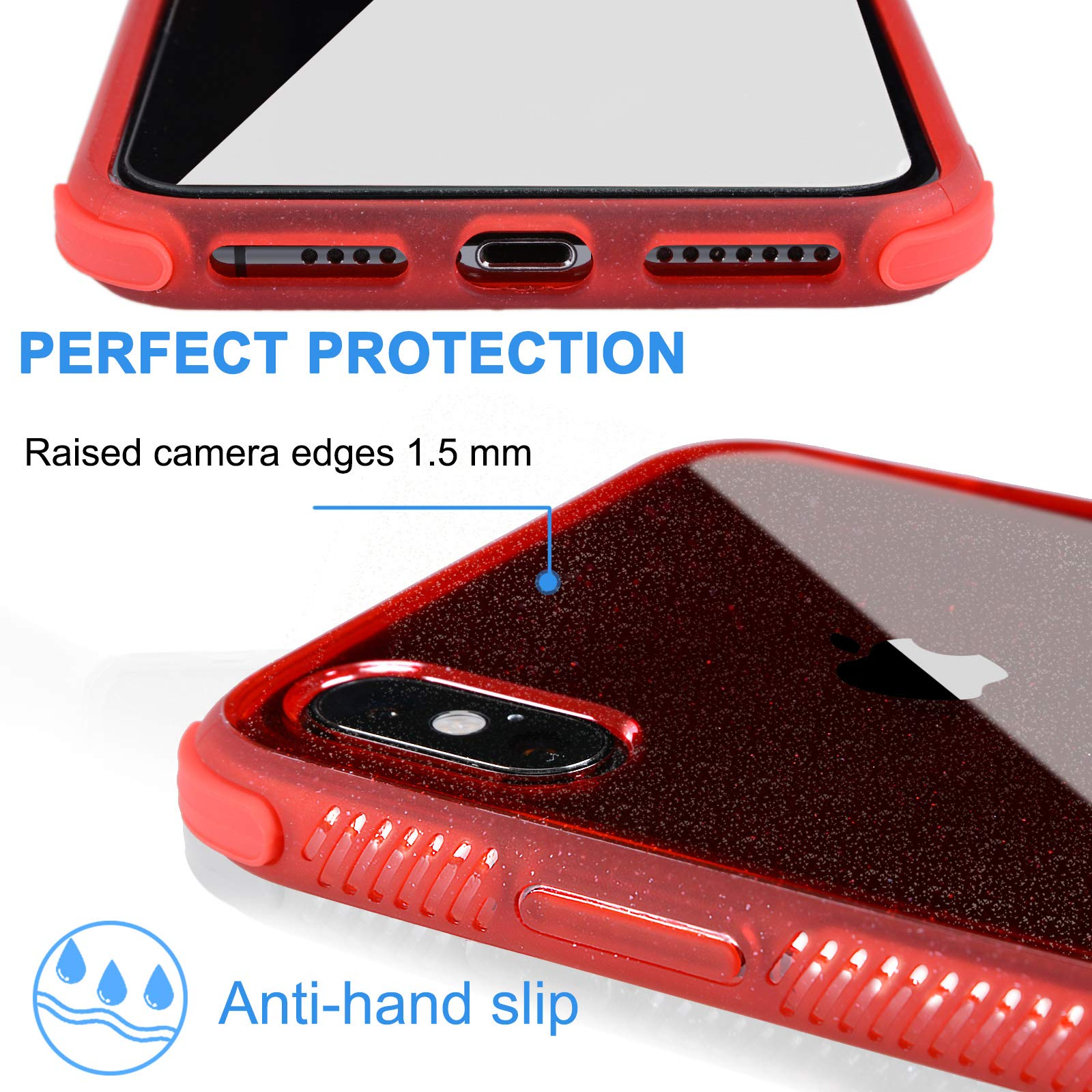 Voilamart iPhone XS MAX Case Bling Shiny Cute Pattern Design Sparkle Glitter Anti-Slick/Protective Case for iPhone Xs MAX, Red