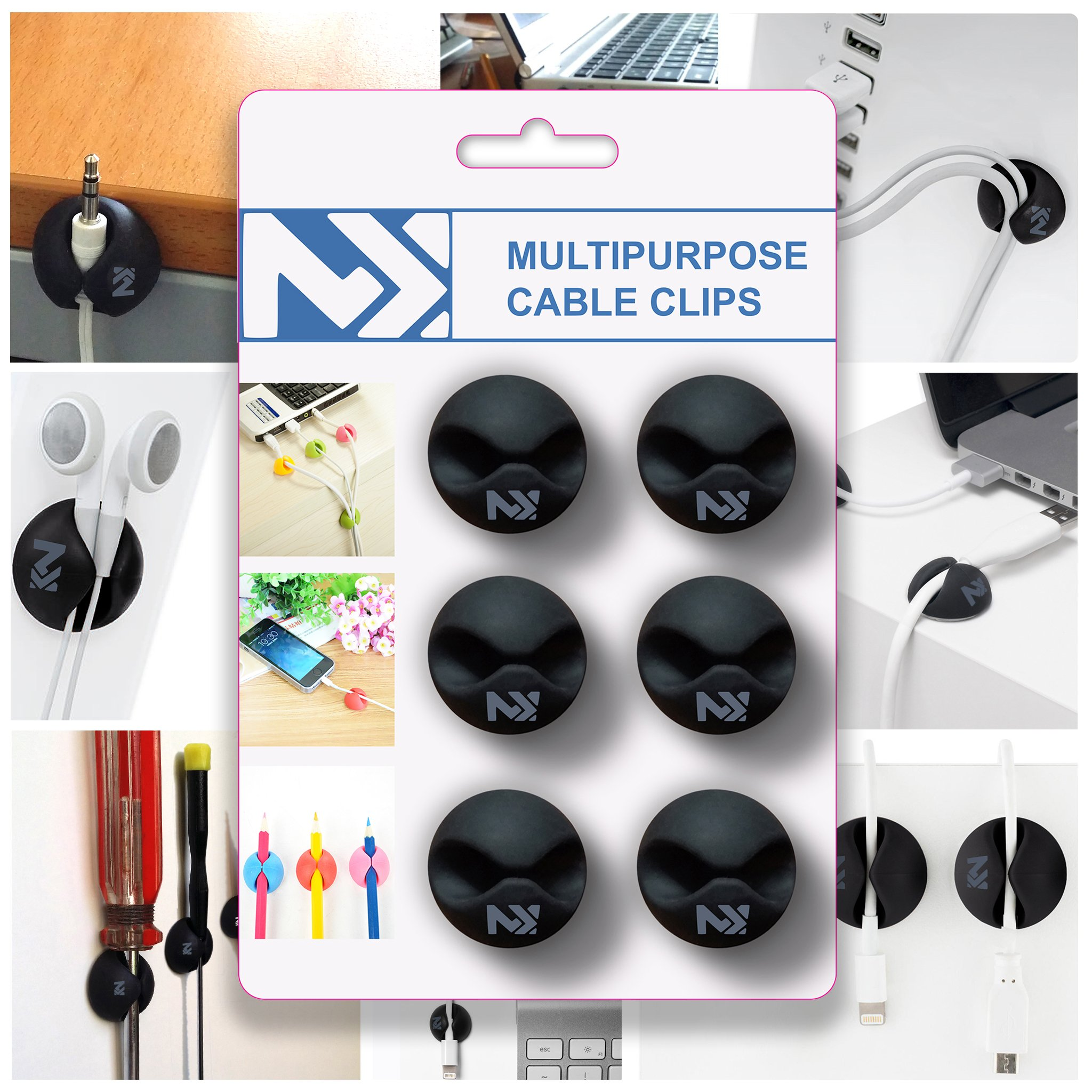 Cable Clips Black - Cord Keepers - Wire Holder for Desk - Charger Cord  Holder -