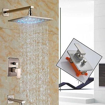 Votamuta Wall Mounted 12u0026quot; LED Rainfall Shower Faucet Set Single Handle  Mixer Valve Two