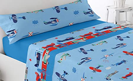 Energy Colors Textil Hogar - Junior - Cama 90 Juego Sábanas 3 Piezas 50% Algodón y Otras Fibras (Aviones): Amazon.es: Hogar