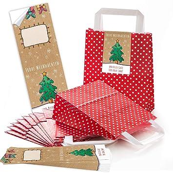 25 rojos Navidad lunares asa bolsas de papel Bolsa de Regalo ...