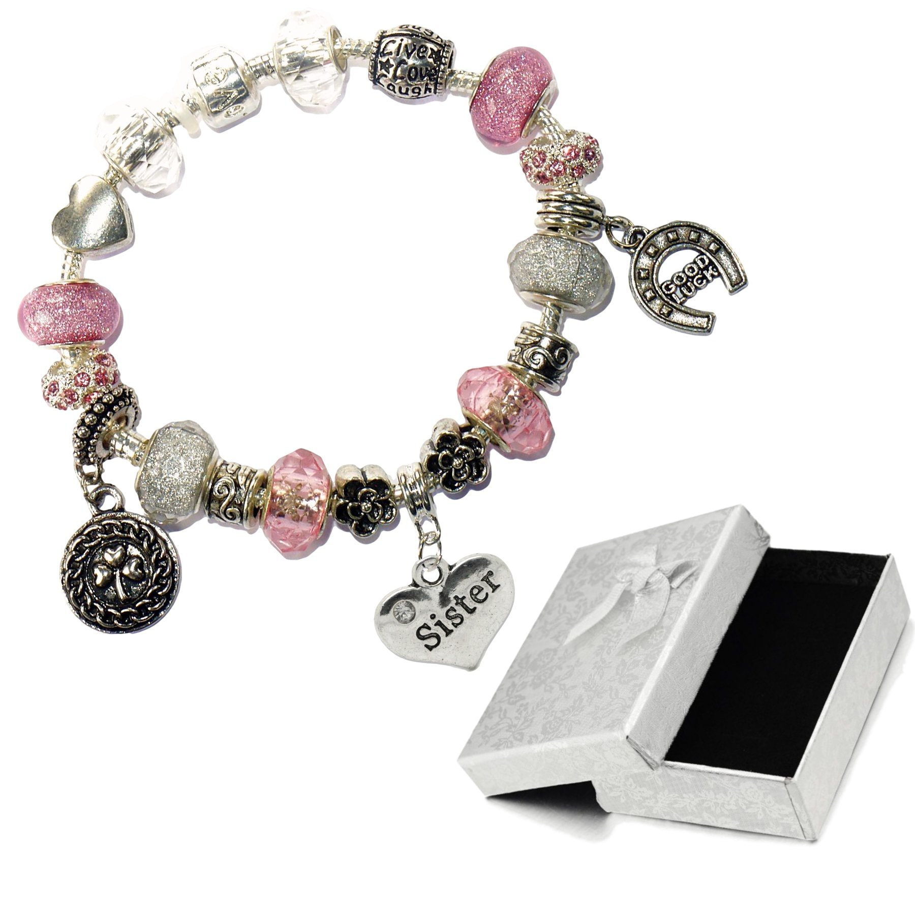 Charm Buddy Sister Pink Silver Crystal Good Luck Pandora Style Bracelet With Charms Gift Box