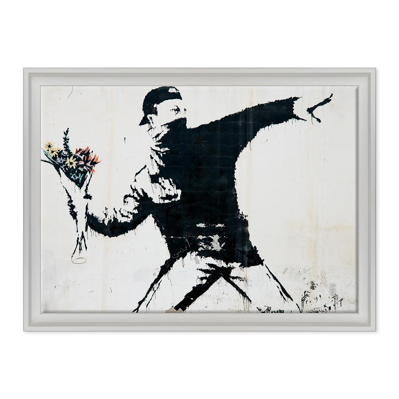 QUADRO SU TELA CANVAS INTELAIATO - CON CORNICE - BANKSY - Arte Street Art - Lanciatore di Fiori - 50x70cm - Stile Contemporaneo Bianco - (cod.1644) Oculis