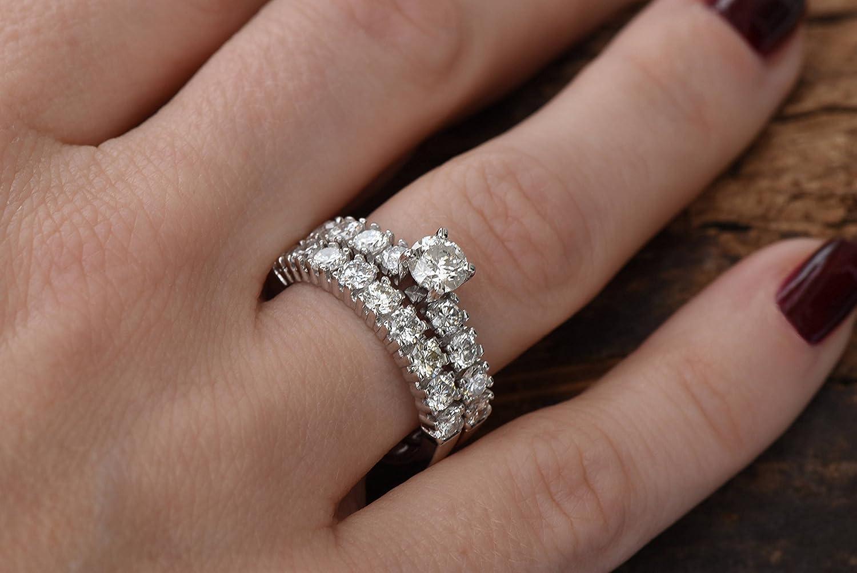 Amazon Com 2 Carat Diamond Engagement Ring For Women 14k White Gold Art Deco Anniversary Wedding Band Set Promise Ring Handmade