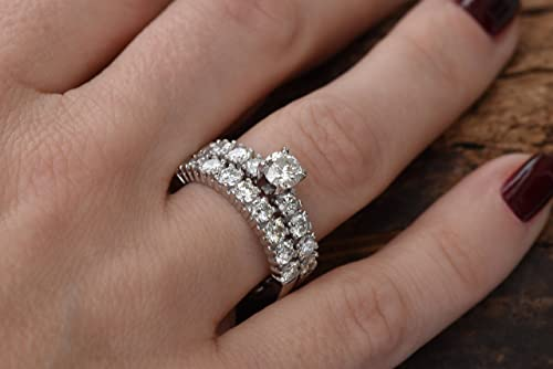 Anniversary ring 14K White Gold Finish Art Deco Promise Ring 2.30 Ctw Vintage Engagement Ring Simulated Diamond Two Round Bridal Ring