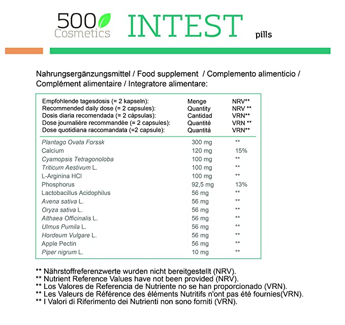 500Cosmetics Intest- Cápsulas Naturales para Prevenir y Evitar las Hemorroides - Mejora la Circulación y Combate el Estreñimiento - Para Hombre y ...