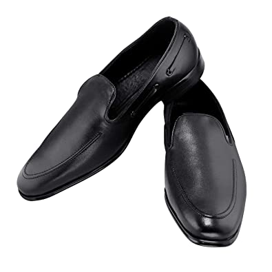 Zapatoz Men S Solid Black Pu Formal Slip On Shoes Business Wear