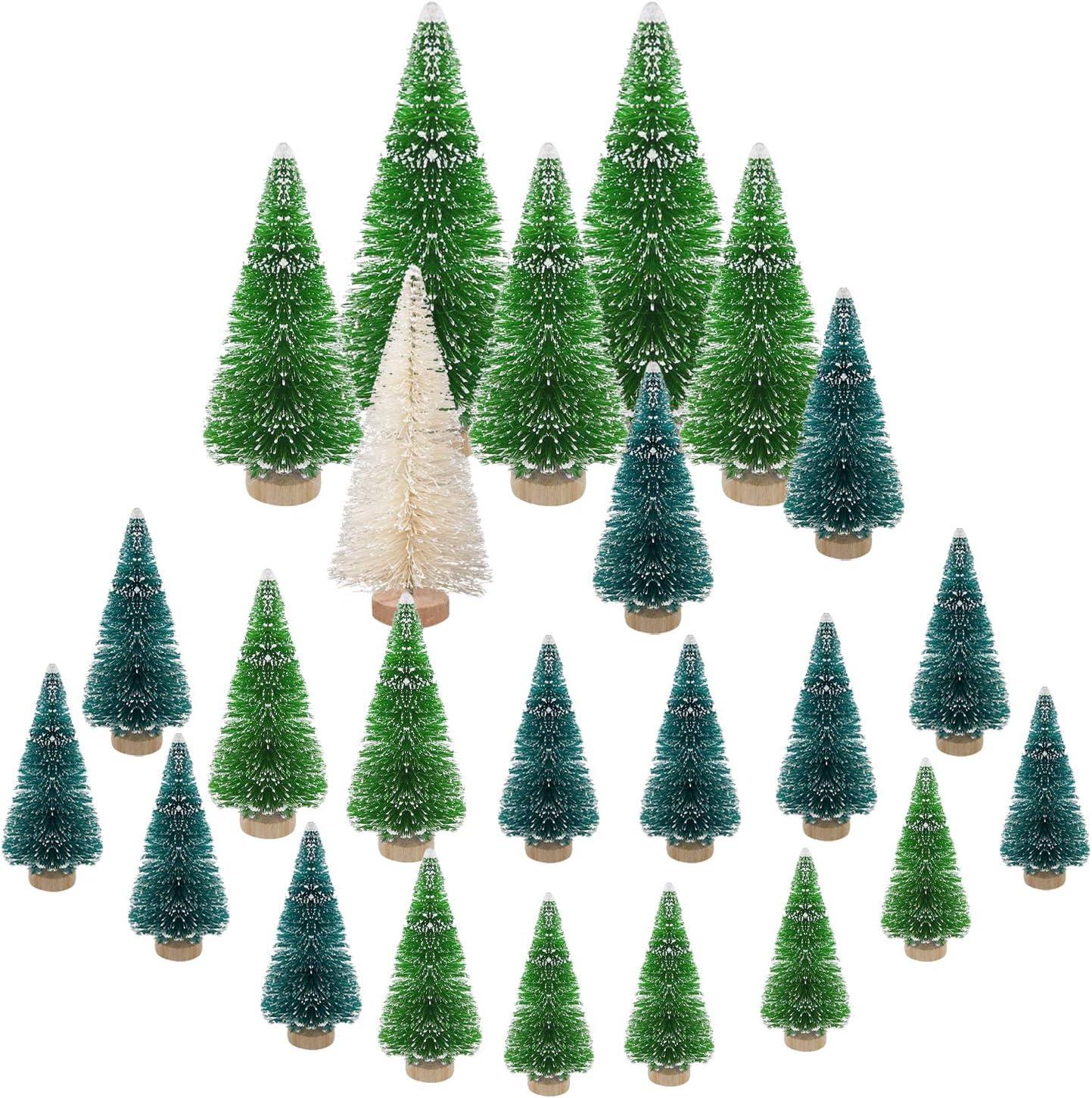 LOVEXIU 24 Pcs Mini áRbol de Navidad,DecoracióN NavideñA,Abeto Artificial,áRbol de Nieve,Se Puede Utilizar para DecoracióN del Hogar,Fiesta de Navidad,Regalos para NiñOs,Micro Paisaje Verde Blanco
