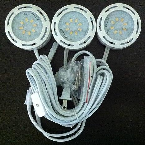 LEDP3120WH - 120V Direct LED Puck 3 Light Kit-White on