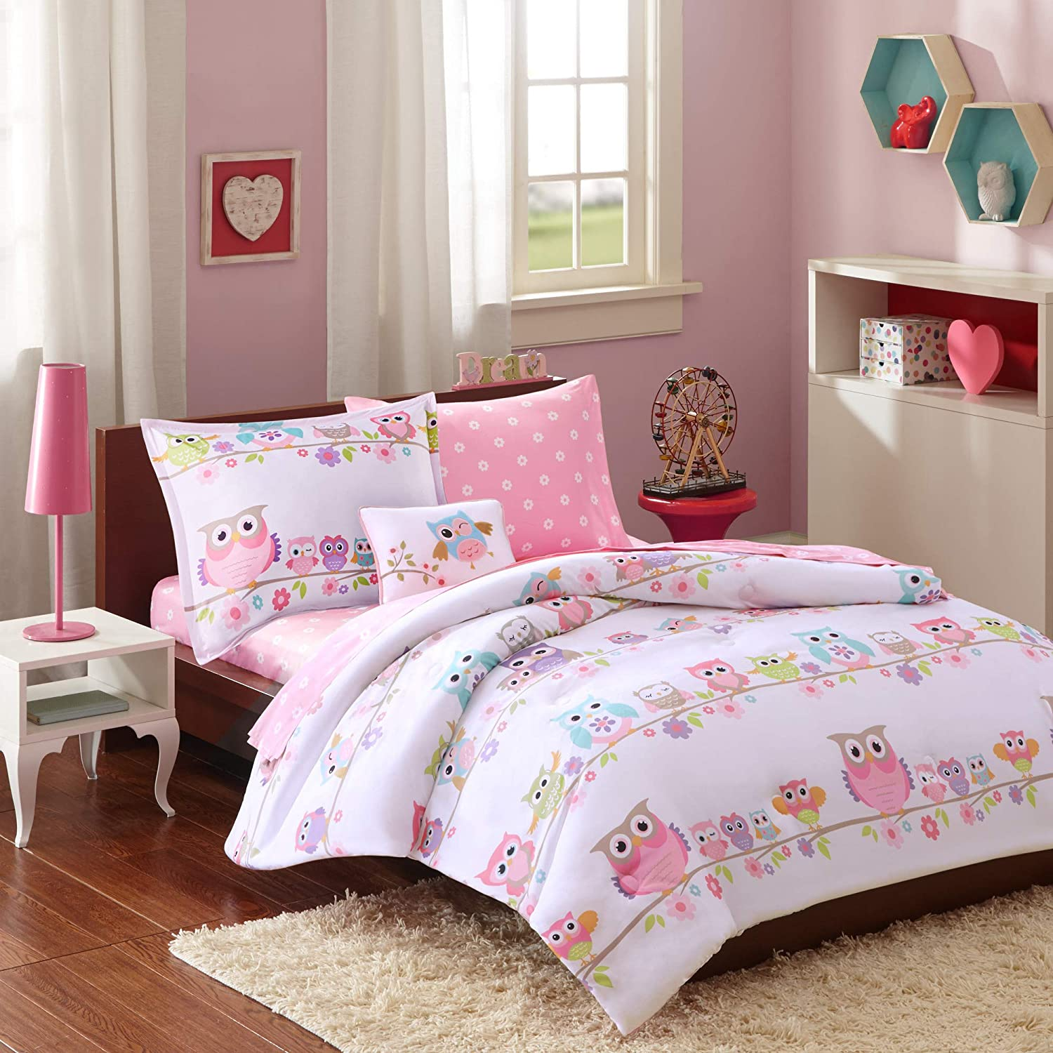 Mi-Zone Kids Wise Wendy Queen Comforter Sets for Girls - Pink, Owl – 8 Pieces Kids Girl Bedding Set – Ultra Soft Microfiber Childrens Bedroom Bed Comforters
