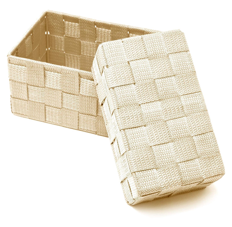 Lashuma Beige Badk/örbe 2er Korb Set K/örbchen Gr/ö/ßen Regalk/örbe zur Aufbewahrung 19 x 10 x 7 cm und 20 x 13 x 10 cm
