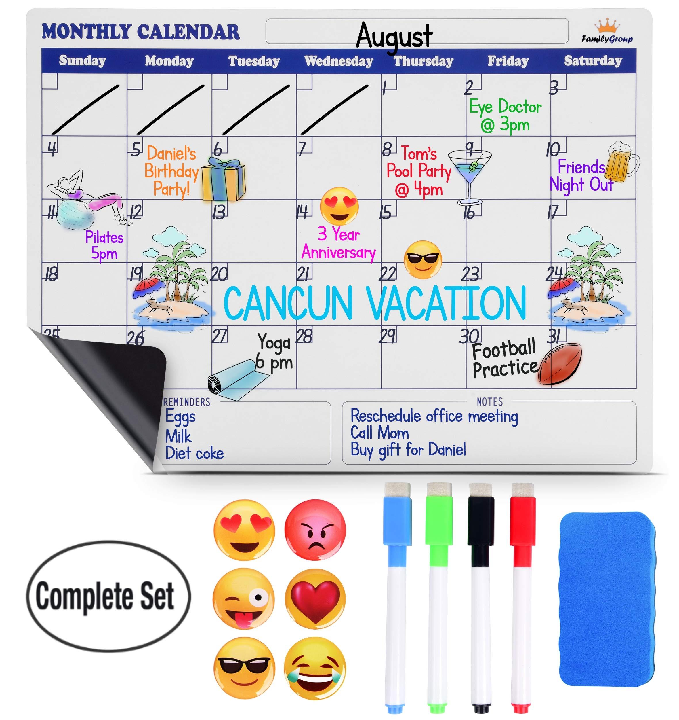 Magnetic Dry Erase Calendar for Fridge - Large Monthly Refrigerator Calendar Whiteboard. Bonus 6 Emoji Magnets, 4 Color Markers,Eraser. Kids Organizer List for Kitchen Refrigerator 16x12 inches White by FamilyGroup