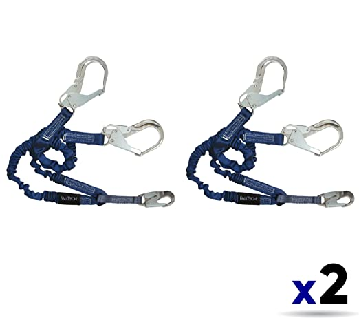 Adjustable Y-Leg for 100/% Tie-Off with 1 Aluminum Snap Hook and 2 Aluminum Rebar Hooks Aluminum SAL 4 1//2 to 6 Blue 2 Pack FallTech 8240Y3A ElasTech