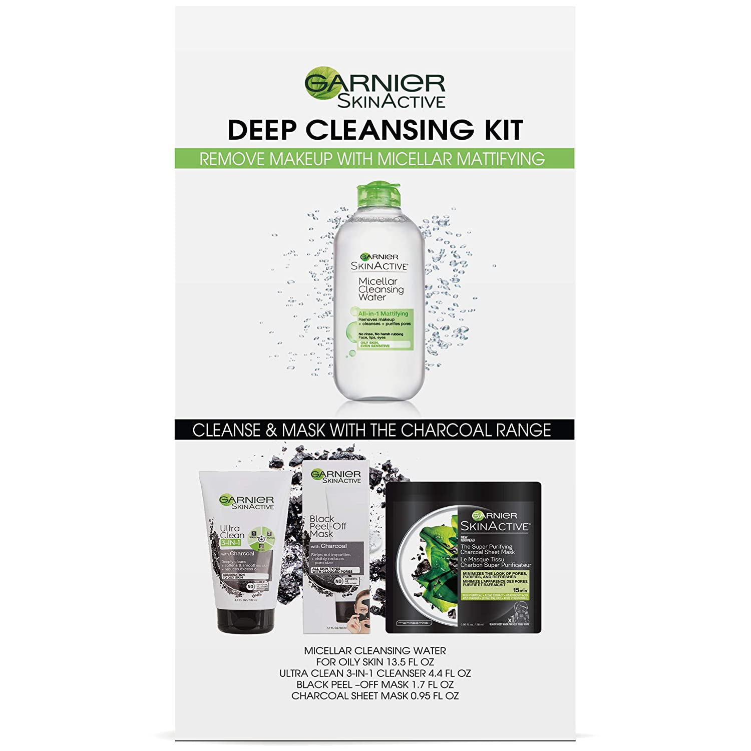 Garnier SkinActive Micellar & Charcoal Deep Cleansing Kit for Oily Skin
