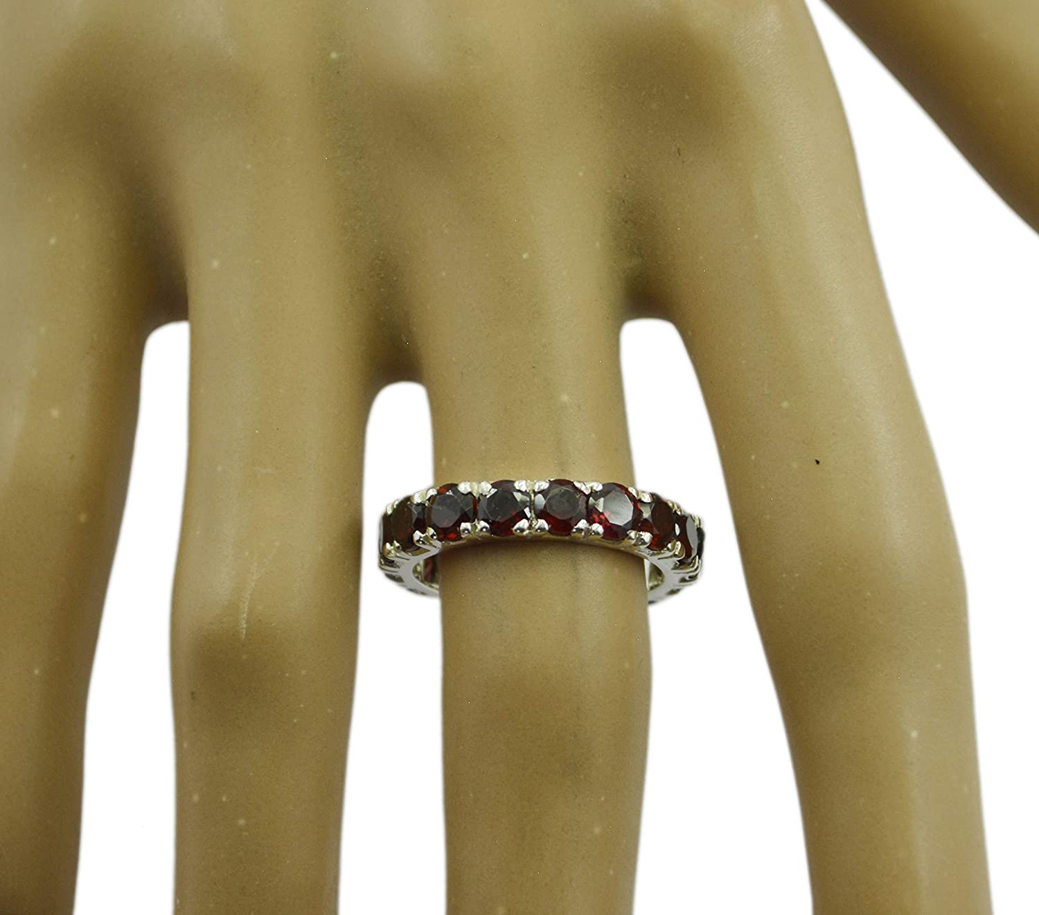 Garnet Red Gems Silver Ring Easily 925 Sterling Silver Charming Natural Red Ring