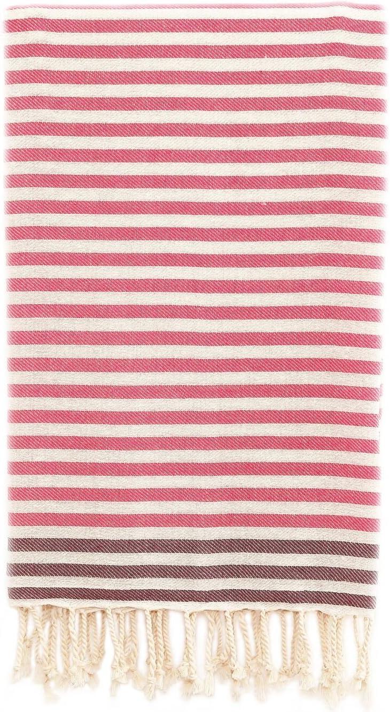 Linum Home Textiles Fun at The Beach Pestemal 100% Soft Premium Authentic Turkish Cotton Luxury Pestemal, Pink/Purple