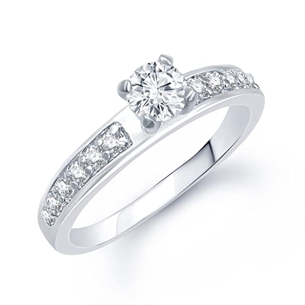 VK Jewels Cluster Rhodium Plated Solitaire Ring   FR1054R [VKFR1054R] Women's Rings