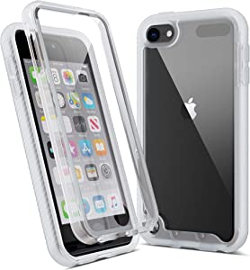 Imguardz iPod Touch 7th Generation Case, iTouch 6th Gen Case, Crystal Clear Slim Cover with Built-in Screen Protector, Heavy Duty Shockproof Hybrid Hard Shell for iPod Touch 7/6/5, Clear