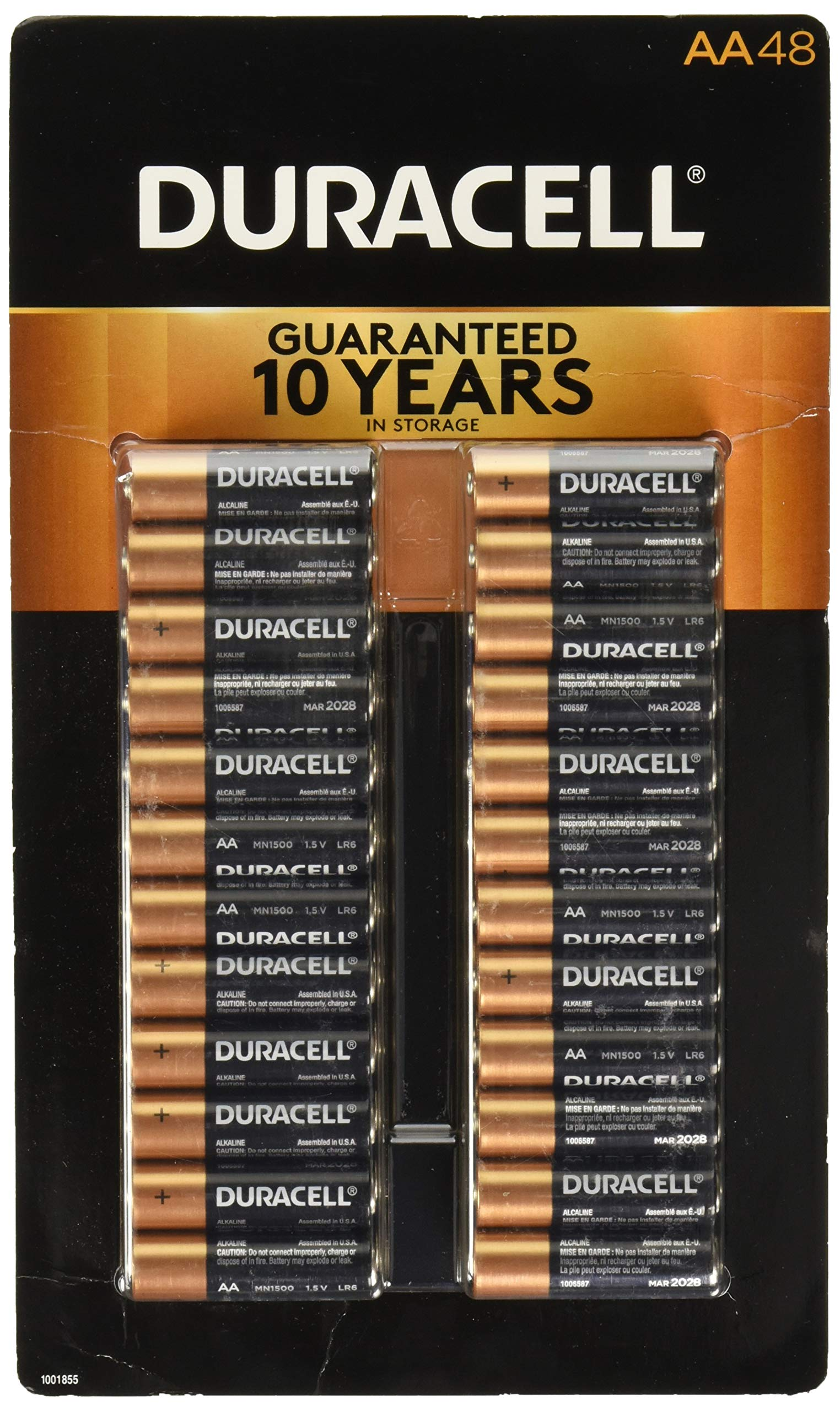 Duracell Coppertop Alkaline-Manganese Dioxide AA Battery, 1.5V, (Pack of 48) by Duracell