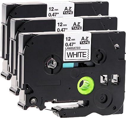 3x Schriftband kompatibel für Brother TZc-231 TZ-231 schwarz auf weiß 12mm x 8m