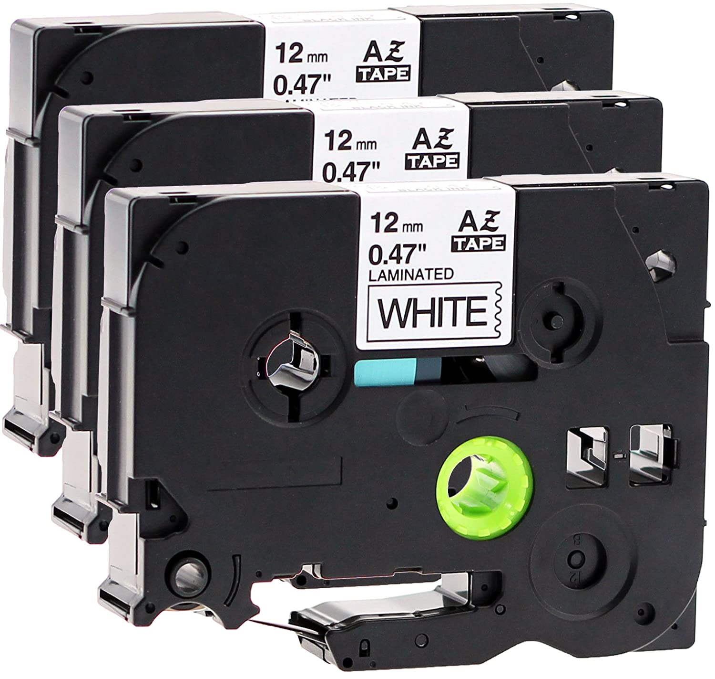 4x Schriftbandkassette f/ür Brother TZe-231 12mm schwarz auf wei/ß 12mm breit x 8m lang laminiert kompatibel zu TZE-231
