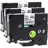 3x Schriftbandkassette für Brother TZe-231 12mm schwarz auf weiß 12mm breit x 8m lang laminiert geeignet für Brother P-Touch 1000W 1010 1090 1830VP 2030VP 2100VP 2430PC 2470 2730VP 7100VP 7600VP H100R H105WB H150WB H300 D200VP D400 D600VP P750W und andere P-Touch Geräte kompatibel zu TZE-231