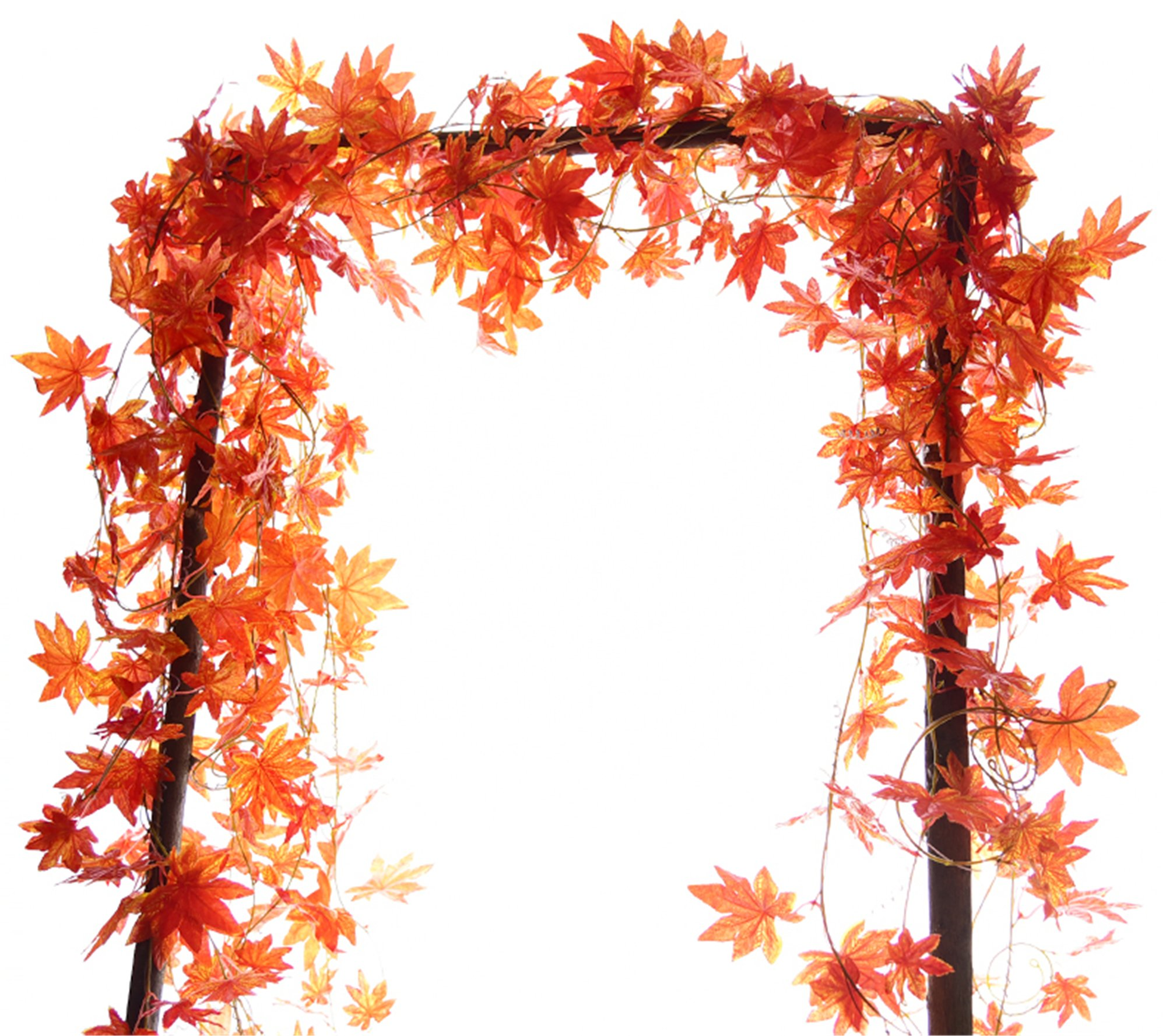 Greentime 2 Pcs 8.8 FT/pc Artificial Silk Maple Leaves Ivy Vine Hanging Wreath Foliage Leaves Plants Garland for Indoor Outdoor Wall Decoration