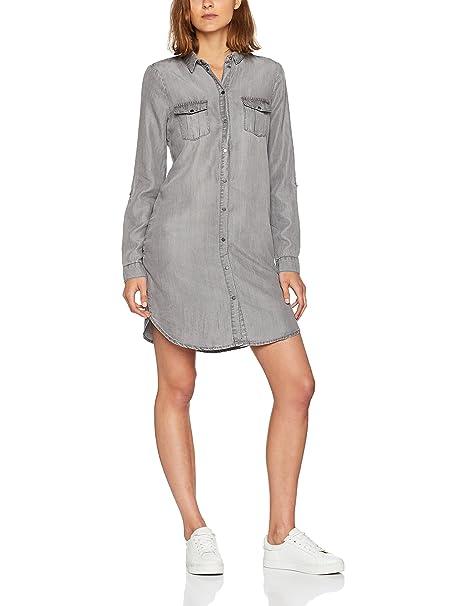 Vero Moda Vmsilla LS Short Dress Ga Noos, Vestido para Mujer, Gris (Light