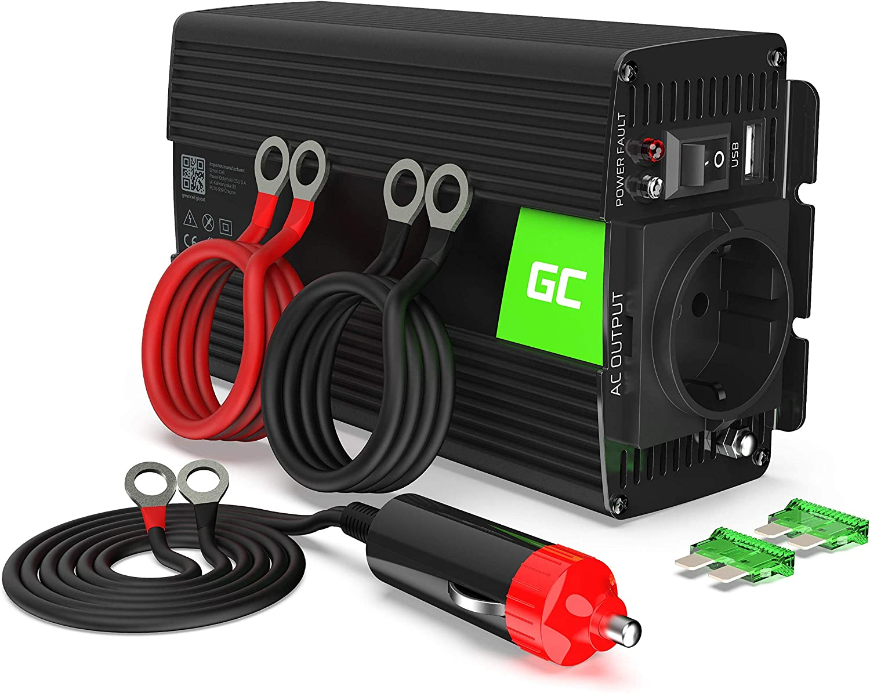 Green Cell® 300W/600W 24V a 220V/230V Onda sinusoidal modificada Inversor de Corriente DC AC Power Inverter Transformador de Voltaje para Camion con Puerto USB y Pinzas de conexión a batería