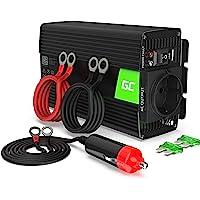 Green Cell® 300W/600W Onda sinusoidal modificada Inversor de Corriente Power Inverter DC 24V AC 220V, Transformador de Voltaje para Camion con Puerto USB y Pinzas de conexión a batería