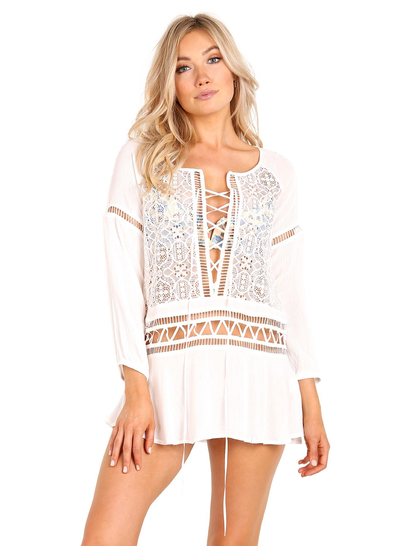 For Love & Lemons Women's Martinique Mini Dress, White, Medium