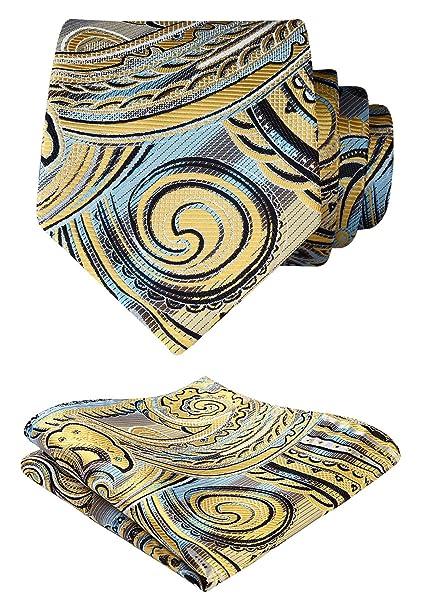 HISDERN?Panuelo de lazo de boda Paisley floral Panuelo de corbata ...