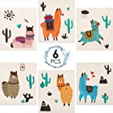 Reusable Swedish Dishcloths Alpaca and Cactus Pattern Sponge Cleaning Cloths Washable Absorbent Dish Cloth Hand Towel for Kit