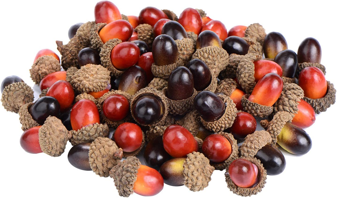 Sumind 70 Pieces Craft Acorns Artificial Acorn Decor Fake Fruit Props Acorns Decoration for DIY Home Party Festival (2 Colors)