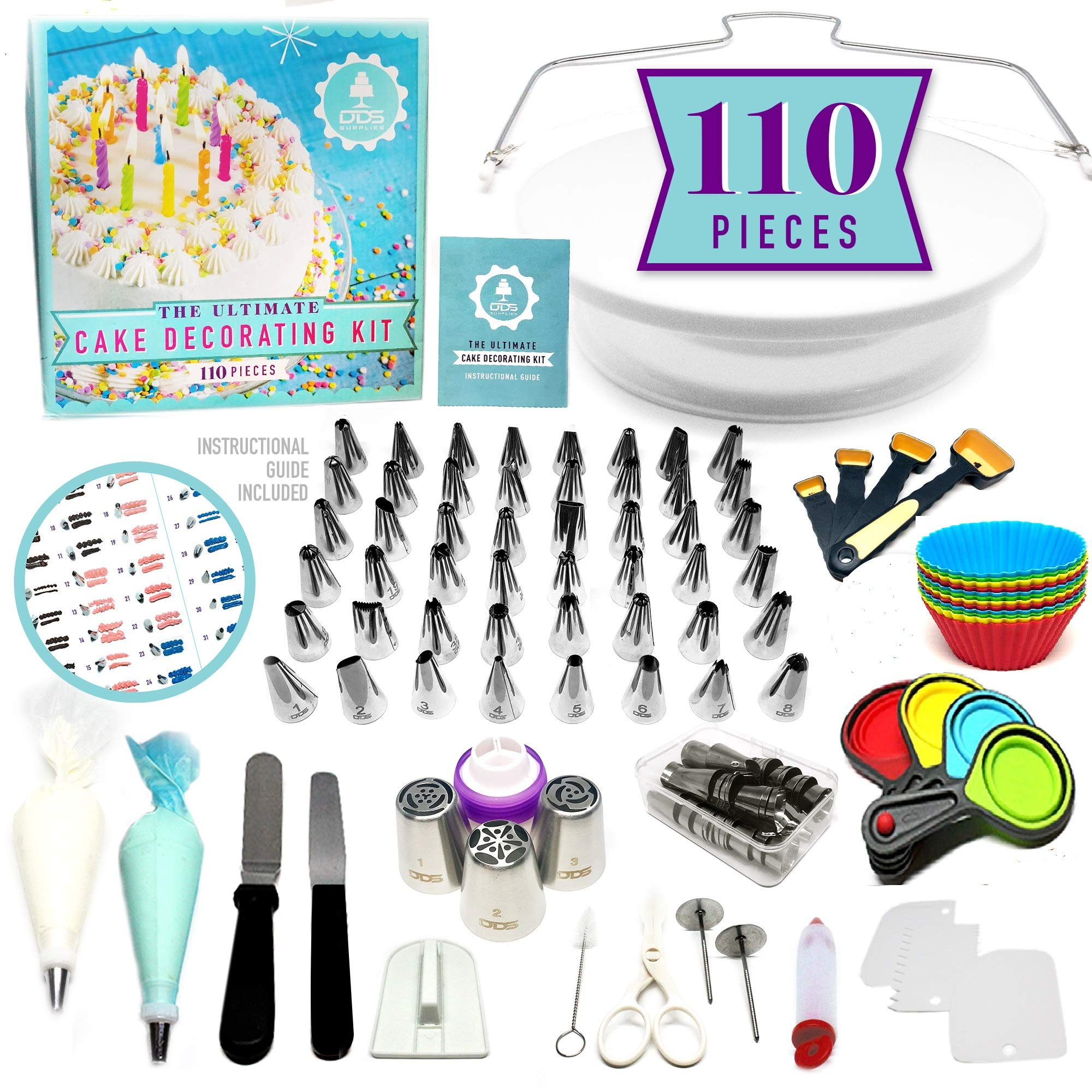 NEW!!! 110pc Ultimate Cake Decorating Supplies Kit, Rotating Cake Decorating Turntable,48 Piping Tips, 3-Russian Nozzles, Piping Bags,Baking Supplies,Cupcake Decorating Kit,Icing Tips,Decorating Tools by DDS Supplies